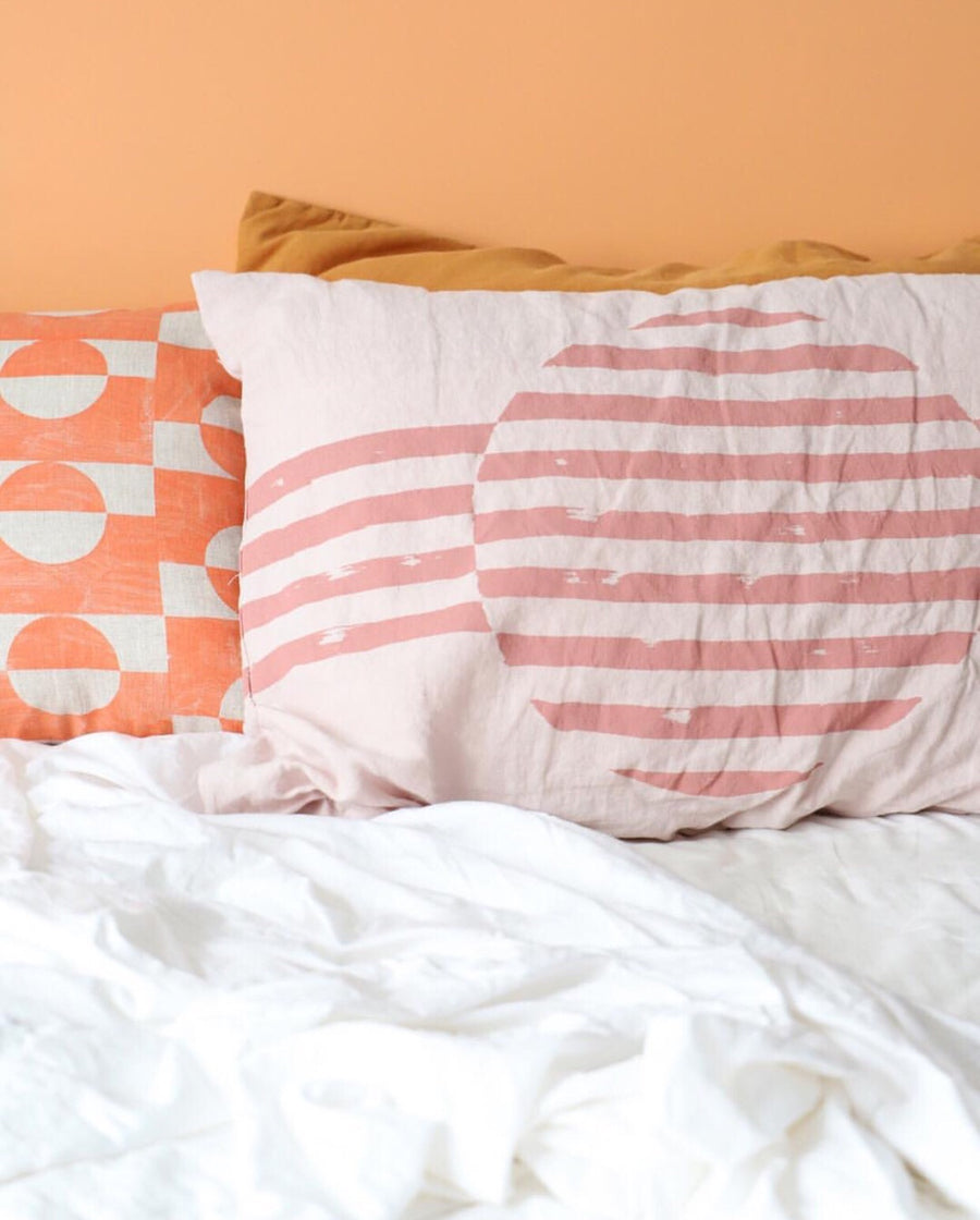 Dot Dash Pillowcase Clay Pink