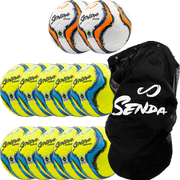 pack of 10 yellow/light blue amador training soccer balls and 2 orange/navy blue valor match soccer balls