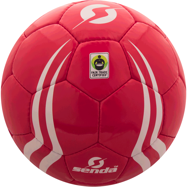 Front of Senda B Corporation soccer ball with fair trade certification