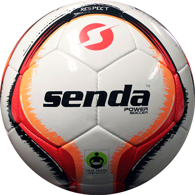 Front of Senda power soccer with fair trade certification