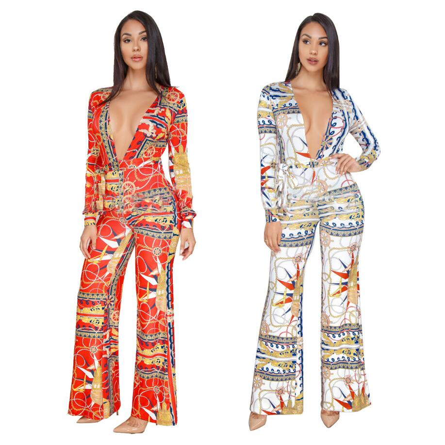 Sexy fashion digital print deep V wide leg jumpsuit Wide leg Pants