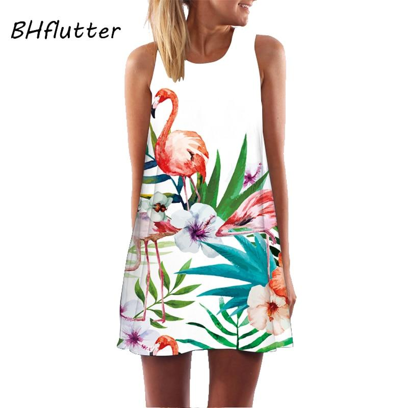 New Style Sleeveless Floral Print Casual Loose Boho Mini Beach Dress.