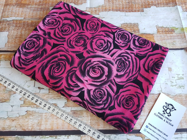 Pink Roses on Black ~ Printed Double Brushed Poly Lycra Fabric