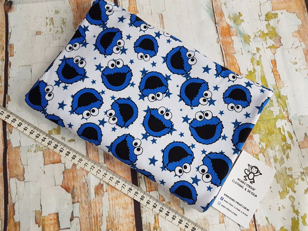 Cookie Monster ~ Printed Cotton Lycra Fabric