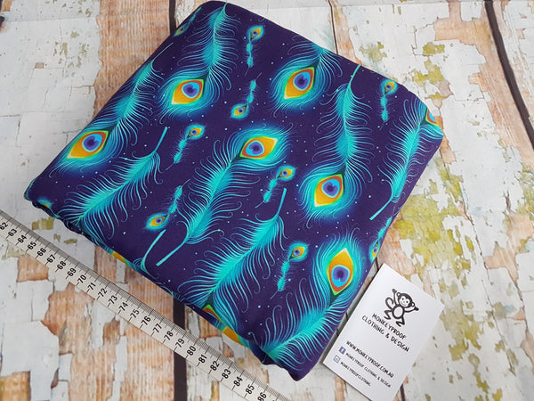 Peacock Feathers ~ Printed Cotton Lycra Fabric