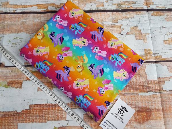 My Little Pony Rainbow ~ Printed Cotton Lycra Fabric