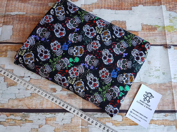 Day of the Dead Skulls ~ Printed Cotton Lycra Fabric