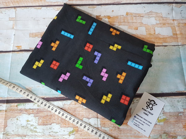 Arcade Bricks ~ Printed Cotton Lycra Fabric