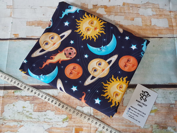 Space Face ~ Printed Cotton Lycra Fabric