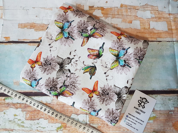 Butterfly Garden ~ Printed Cotton Lycra Fabric