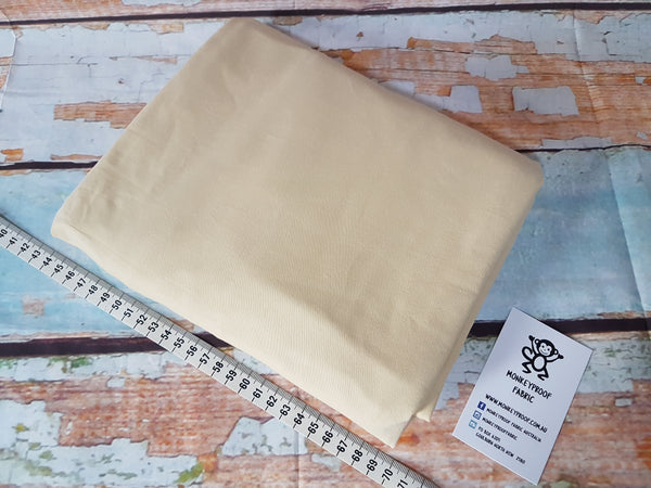 Beige ~ Plain Solid Cotton Lycra Fabric