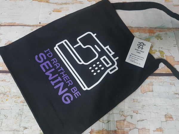 Tote Bag ~ I'd Rather Be Sewing (Purple)
