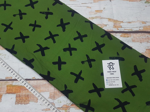Black Crosses - Green ~ Printed Cotton Lycra Fabric