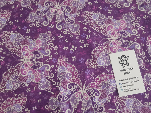 Purple Butterflies ~ Printed Cotton Lycra Fabric