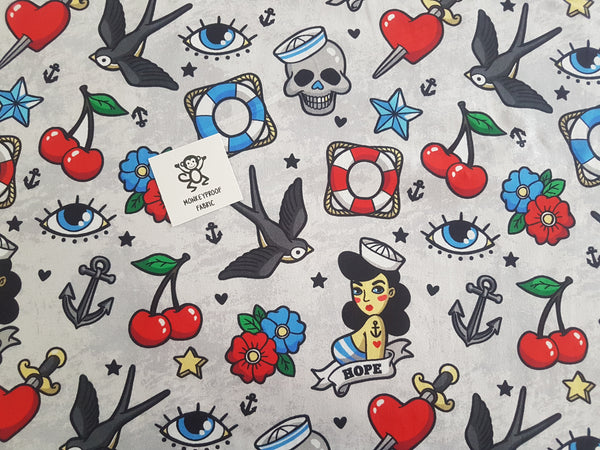 Tattoo Style ~ Printed Cotton Lycra Fabric