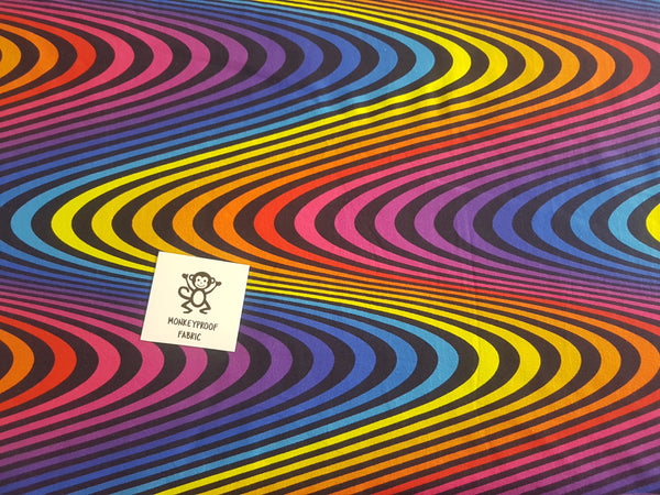 Rainbow Waves ~ Printed Cotton Lycra Fabric