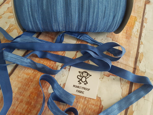 "Blue - Solid - 5/8"" (16mm) - Fold Over Elastic"