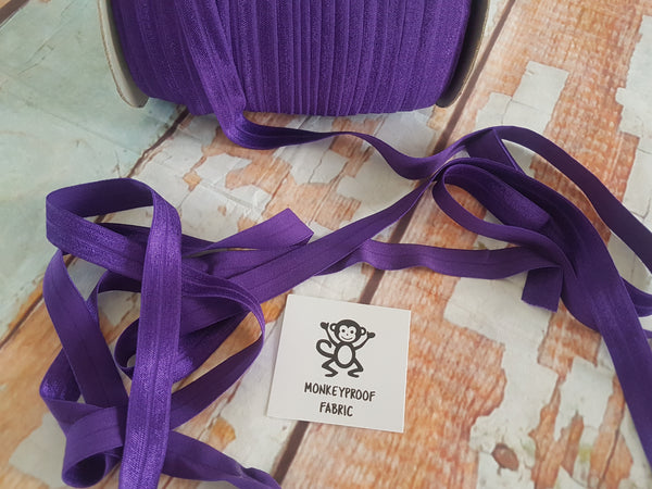 "Royal Purple - Solid - 5/8"" (16mm) - Fold Over Elastic"