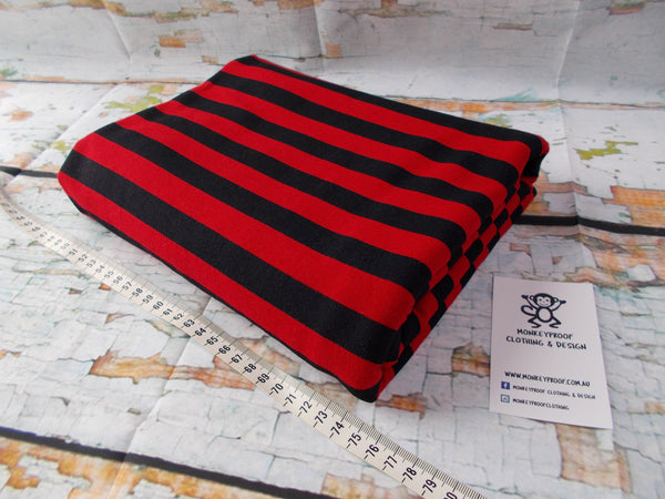 Red & Black One Inch ~ Striped Cotton Lycra Fabric