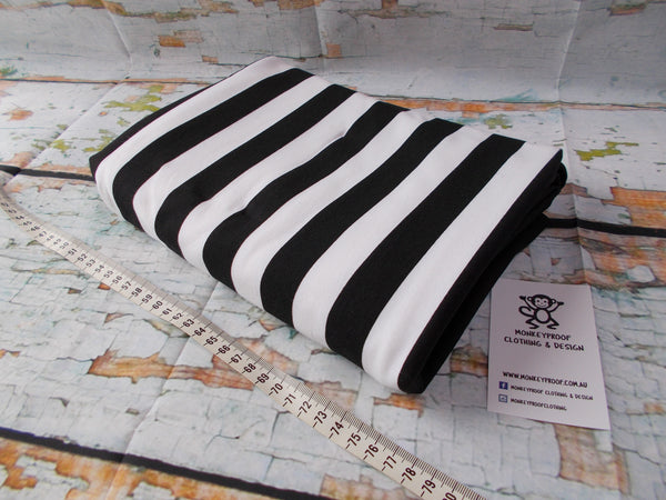Black & White One Inch ~ Striped Cotton Lycra Fabric