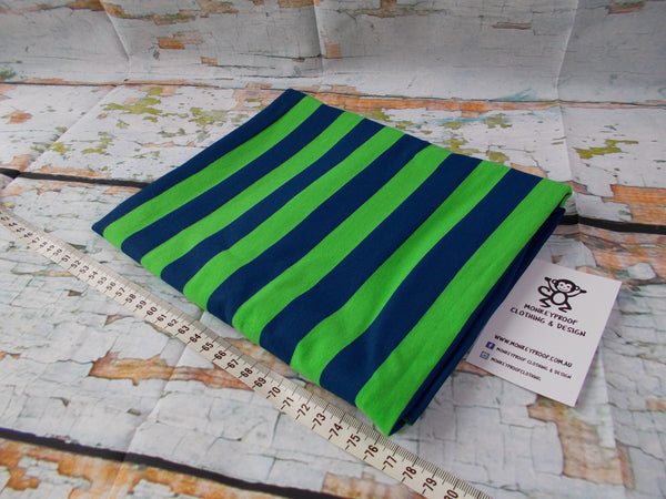 Navy & Green One Inch ~ Striped Cotton Lycra Fabric