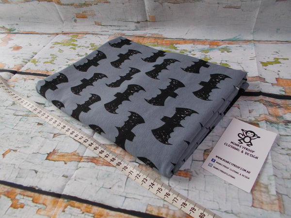 Black Bats on Charcoal ~ Printed Cotton Lycra Fabric