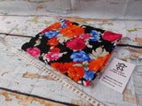 Bright Floral on Black ~ Printed Cotton Lycra Fabric