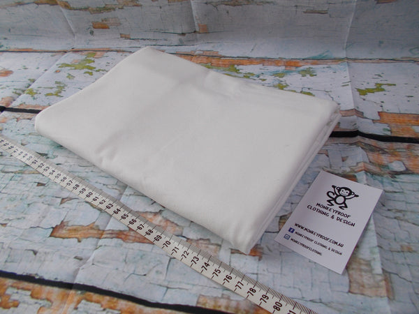 White ~ Plain Solid Cotton Lycra Fabric