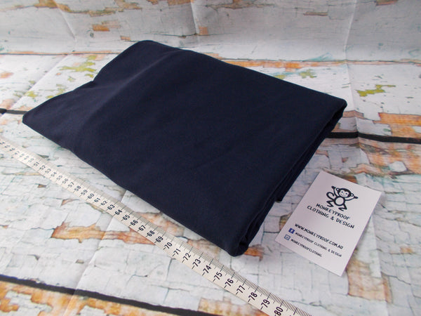 Navy Blue ~ Plain Solid Cotton Lycra Fabric
