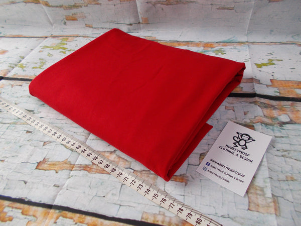 Red ~ Plain Solid Cotton Lycra Fabric