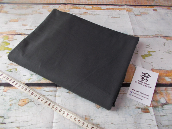 Charcoal ~ Plain Solid Cotton Lycra Fabric