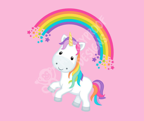Rainbow Unicorn on Pink ~ Cotton Lycra Fabric Panel