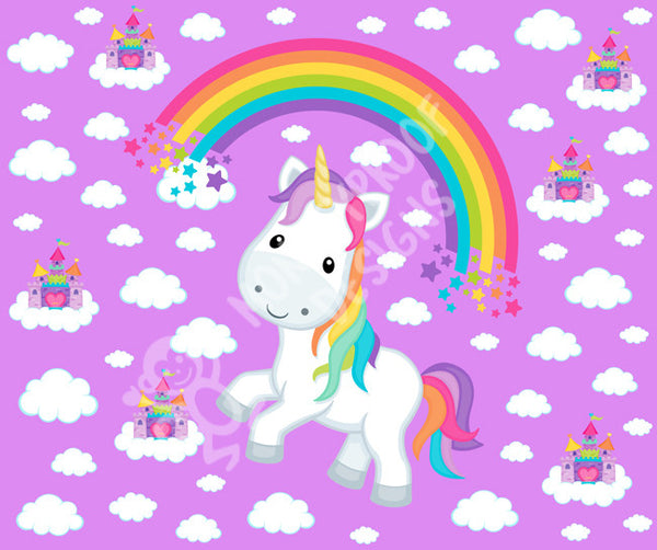 Rainbow Unicorn on Purple ~ Cotton Lycra Fabric Panel