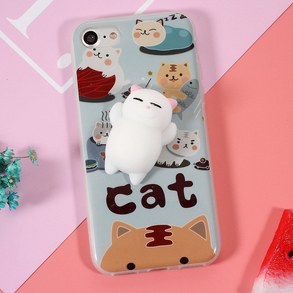 Squishy Cat For Phone Case : 3D Cute Soft Silicone Squishy Cat Phone Case