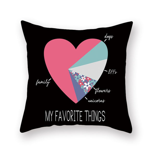 Pink Heart Cushion Cover Arrow I Love You Perfect Letters Happy Valentine Pillow Covers Gifts for Couples Valentine's Decoration
