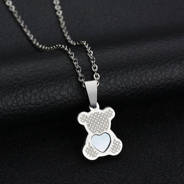 Charm Hollow Cubic Zircon Bear Chain Necklaces For Women Gold Color Animal Necklace Jewelry Gift