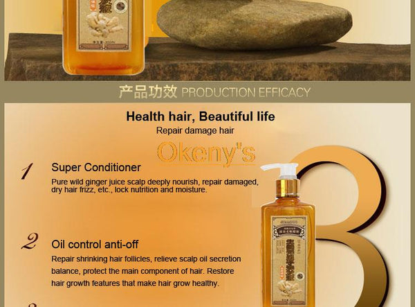 Genuine Professional Hair ginger Shampoo 300ml, Hair regrowth Dense Fast, Thicker, Shampoo Anti Hair Loss Product