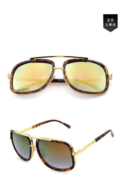 New Brand Square Big Frame Fashion Sunglasses Men Oversized Gold Glasses for Women Driving Retro Sun Glasses Oculos de sol