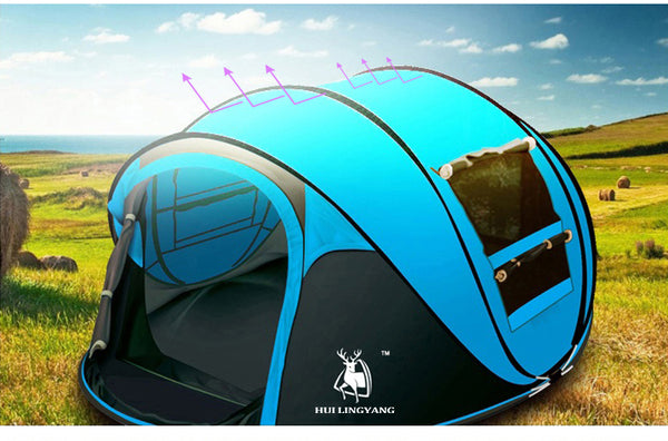 HLY Large throw tent!outdoor 3-4persons automatic speed open throwing pop up windproof waterproof beach camping tent large space