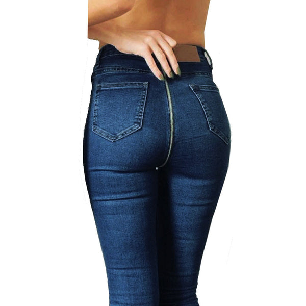 Women Back Zipper Pencil Stretch Denim Skinny Jeans Pants High Waist Trousers