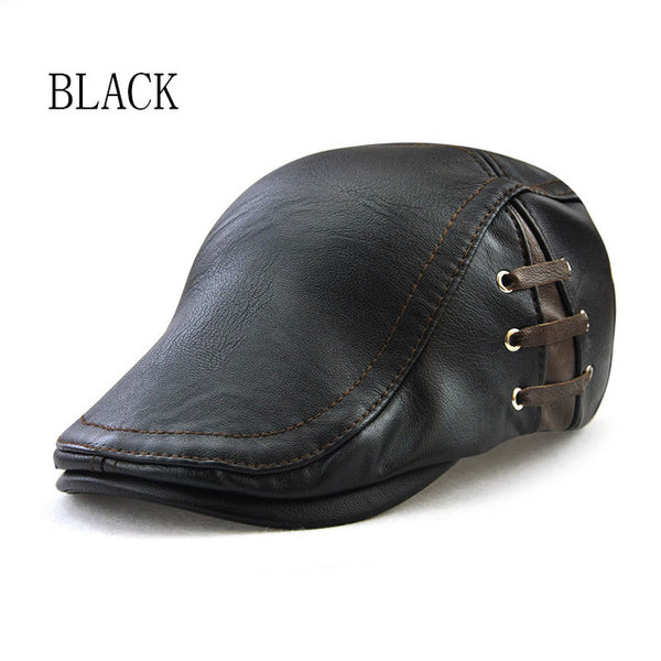 Brand PU Leathe Caps For Men Fashion Berets Hats Casual Autumn Cap Gorras Planas Flat Sun Caps Adjustable Mens Berets boina Bone