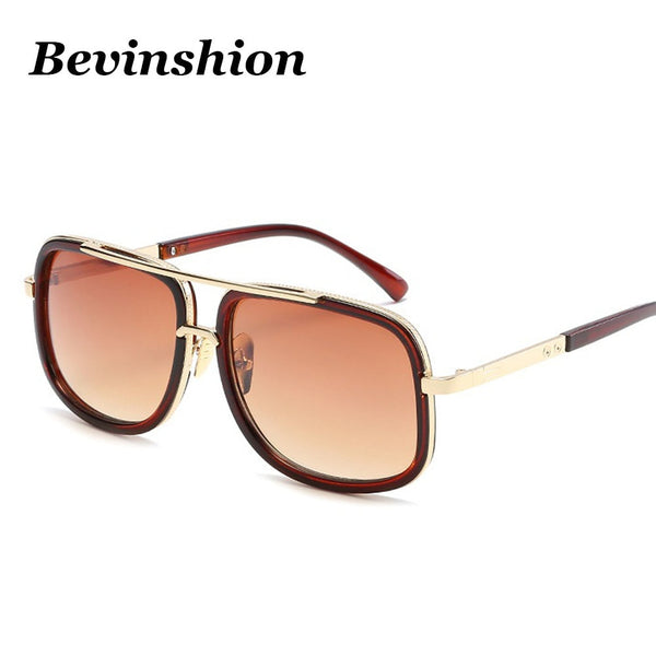 New Brand Designer Square Sunglasses Men Oversized Sun Glasses Clear Metal Gold Black Frame Couple Cool Shades Vintage Sunglass