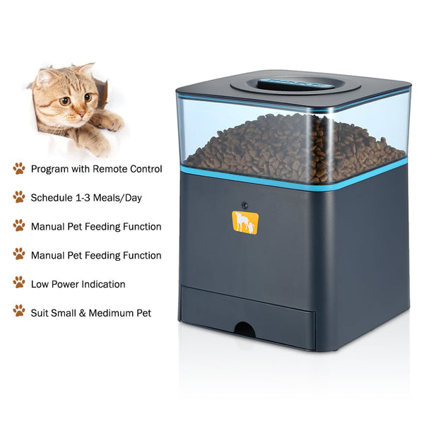 Programmable 4.5L LCD Automatic Feeder for Cat Dog with Remote Control Pet Dry Food Dispenser Dish Bowl 1-3 Meal/Day + Voice Recording