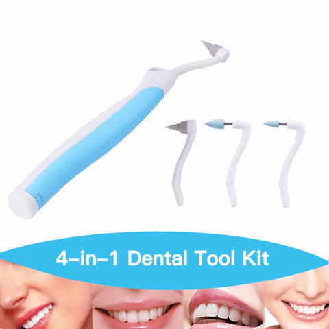 1 set 3 heads Teeth Whitening Sonic Vibration LED Light Dental  tool Kit remove tartar gums massage S47