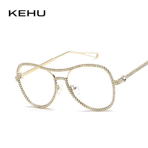 KEHU Lady Fashion Glasses Full Body Diamond Frame Legs Unique High Quality Alloy Frame Glasses Clear Lens K9531