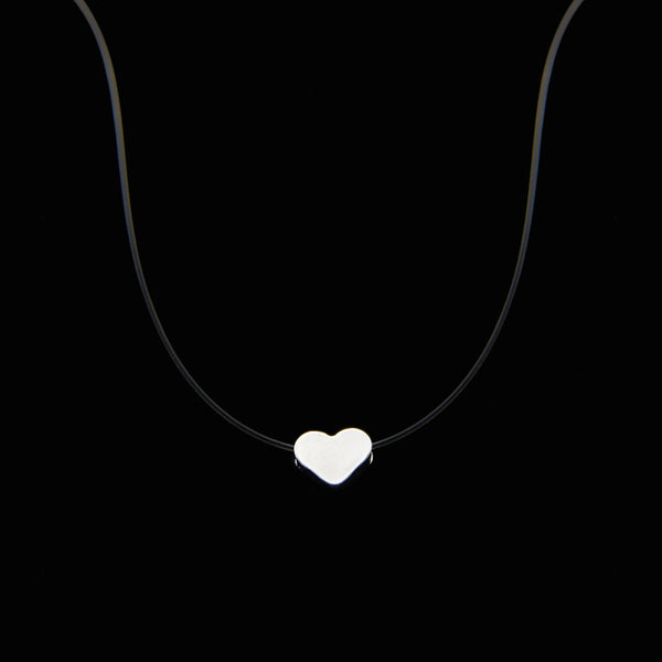 Poputton Female Transparent Fishing Line Necklace Silver Invisible Chain Necklace Women Rhinestone Choker Necklace Collier Femme