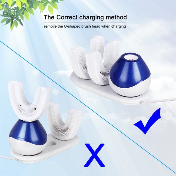 New 360 Degrees Automatic Sonic Electric Toothbrush USB Rechargeable Ultrasonic U Shape Toothbrush Double Heads 15 Seconds