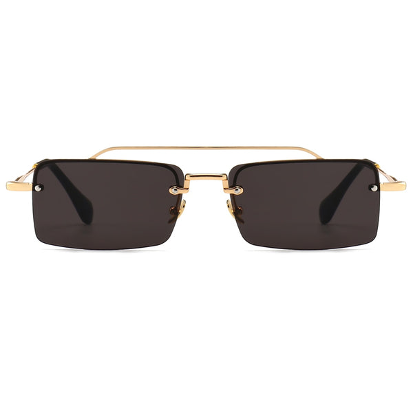 Peekaboo retro rectangle sunglasses men metal frame gold brown red semi rimless square sun glasses for women 2018 summer