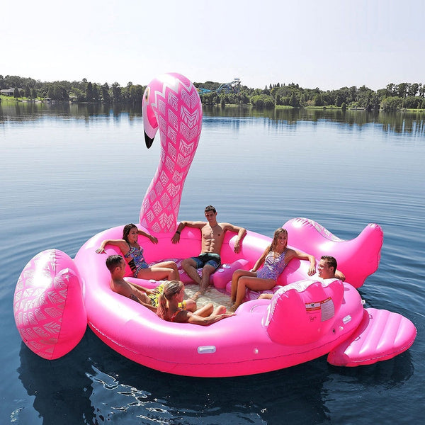 2018 New Arrival 6 Person Huge inflatable Boat Pool Float Giant Inflatable Flamingo Swimming Pool Island Lounge Pool Party Toys
