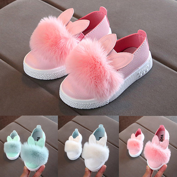 MUQGEW Cute toddlers baby girls rabbit ear pompom shoes for children kids leather single shoes #XTN